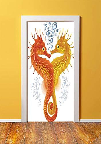 Tropical Animals 3D Door Sticker Wall Decals Mural Wallpaper,Neon Koi Fish Pair Swimming in the Sea Aqua Fauna Tropic Environment Picture,DIY Art Home Decor Poster Decoration 30.3x78.9689,Red - Koi Neon