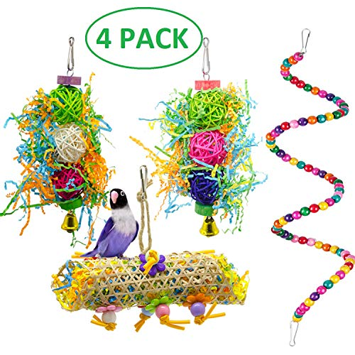 MwaBaiTx Natural Parrot Perch Set, Bird Chewing Toys Bird Perch Bird Stand Bird Cage Accessories (Type 4)