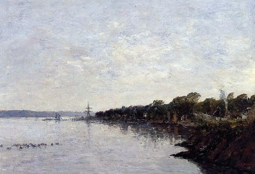 Eugene Louis Boudin Brest The Banks Of The Harbor   24  X 36  100  Hand Painted Oil Painting Reproduction
