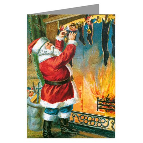(Traditional Santa Hanging Stockings By The Fireplace Hearth Christmas Eve Vintage Holiday Note Cards Boxed Set)