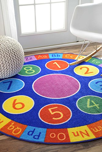 Contemporary Alphabet and Numbers Wheel Kids Area Rugs, 5 Feet Diameter (5' Round)