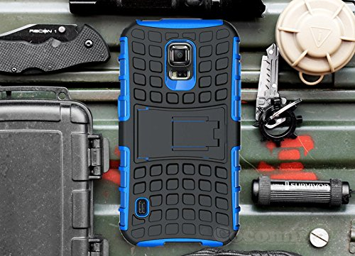 Galaxy S5 Active Case, Cocomii Grenade Armor NEW [Heavy Duty] Premium Tactical Grip Kickstand Shockproof Hard Bumper Shell [Military Defender] Full Body Dual Layer Rugged Cover Samsung G870 (Blue)