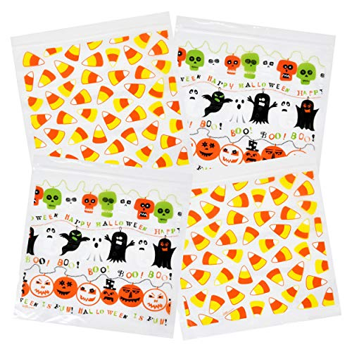 Halloween Themed Treats (Gift Boutique Halloween Candy Goodie Bags Zipper Seal Trick and Treat Plastic Sandwich Bag 80 Bags 2 Designs 20 Bags per Box 6.8