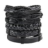Milakoo 6 Pcs Black Braided Leather Bracelet Review and Comparison