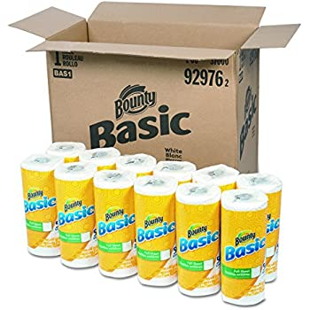 """Bounty 92976 Basic Paper Towels, 10.19"""" x 10.98"""", 1-Ply, White (Pack of 30)"""