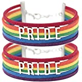 PHASSION 2 PACK - Two Gay Pride Rainbow Bracelets - Handmade Vegan Leather Suede Jewelry LGBT Wristband Wraps