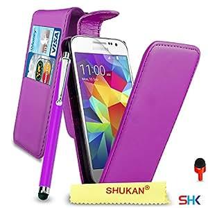 Samsung Galaxy Core Prime Premium Leather Dark Purple Top Flip Wallet Case Cover Pouch + Big Touch Stylus Pen + RED 2 IN 1 Dust Stopper + Screen Protector & Polishing Cloth SVL2 BY SHUKANA®, (FLIP DARK PURPLE), [Importado de Reino Unido]