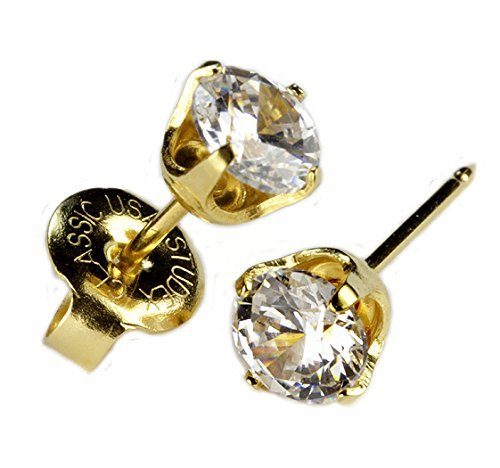 "Ear Piercing Earrings Gold 5mm Clear CZ Studs ""Studex System 75"" Hypoallergenic"