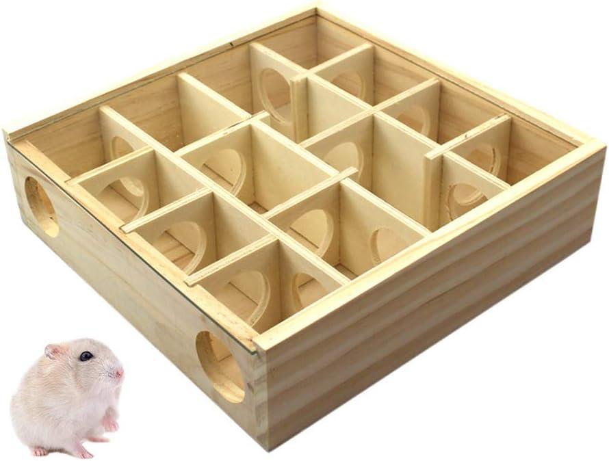 Singeru - Túnel de laberinto de madera para hámster, cubierta acrílica, pequeña mascota, actividad deportiva, ejercicio, ratón, juguete