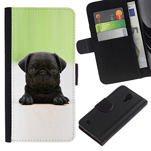 Be Good Phone Accessory // Caso del tirón Billetera de Cuero Titular de la tarjeta Carcasa Funda de Protección para Samsung Galaxy S4 IV I9500 // Baby Pug Puppy Black Tiny Cute Dog
