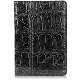 Genuine Florida Alligator Skin Notebook Padfolio (Small, Black)