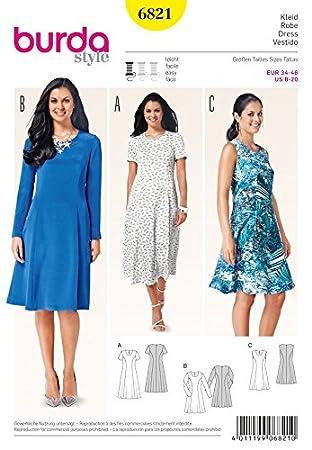 Burda Damen Schnittmuster 6821 Kleid: Amazon.de: Küche & Haushalt