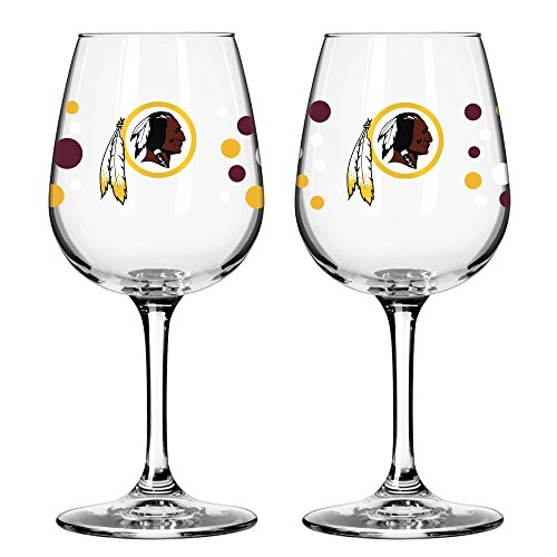 Washington Redskins PolkaDot Wine Glass 12 oz. 2 Pack