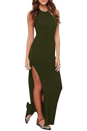c0ebe8f9c2 LaSuiveur Petite Maxi Dresses for Women Cotton Sleeveless Summer Beach Wear  Army Green S