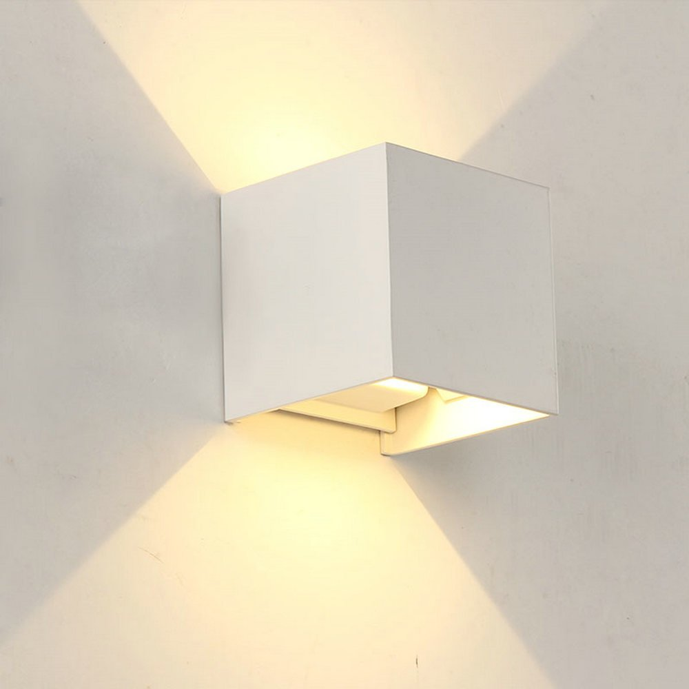 LED Outdoor Porch Wall Light Up Down IP65 Waterproof White Aluminum Modern Sconce Wall Lamp 110V Garden Exterior Home Lighting (White body+6w cold white)