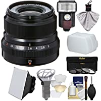 Fujifilm 23mm f/2.0 XF R WR Lens (Black) with 3 UV/CPL/ND8 Filters + Flash + Soft Box + Diffuser Bouncer + Kit