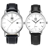 AIBI Set of 2,His and Her Watch Quartz Black Leather Waterproof Watches for Couple Lovers with Date