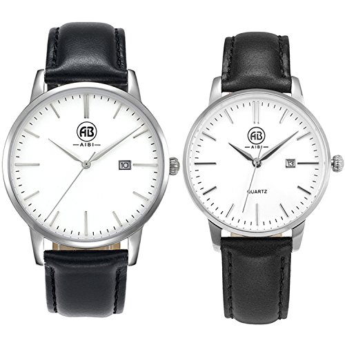 AIBI Set of 2,His and Her Watch Quartz Black Leather Waterproof Watches for Couple Lovers with Date by AIBI