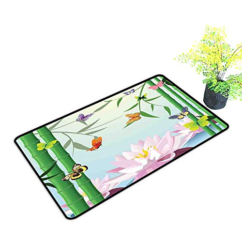 Zmstroy Non-Slip Door mat Butterflies Butterflies on The Branch of Lotus Bamboo Flower Exotic Nature Mod Graphic Art Home W31 xL47 All Season General Multi