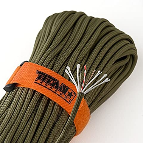 TITAN SurvivorCord | OLIVE-DRAB | 100 Foot Hank | Patented Military Type III 550 Paracord / Parachute Cord (3/16