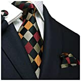 "Landisun SILK Plaids & Checks Mens SILK Tie Set: Necktie+Hanky+Cufflinks 458 Multi-Color, 3.25""Wx59""L"