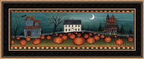 Halloween Eve Crescent Moon - Framed Art Print - 6x18 Fine Art Print by Brown, David Carter in Distressed Classic Black Picture Frame - Holidays Folkart