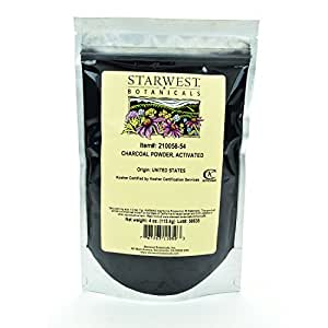 Starwest Botanicals FOOD GRADE US Hardwood Activated Charcoal Powder, 4 Ounces