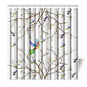 SXCHEN Shower Curtain Hummingbird Magnolia Flower Branch Bird Waterproof Polyester Bath Curtain 65″x72″