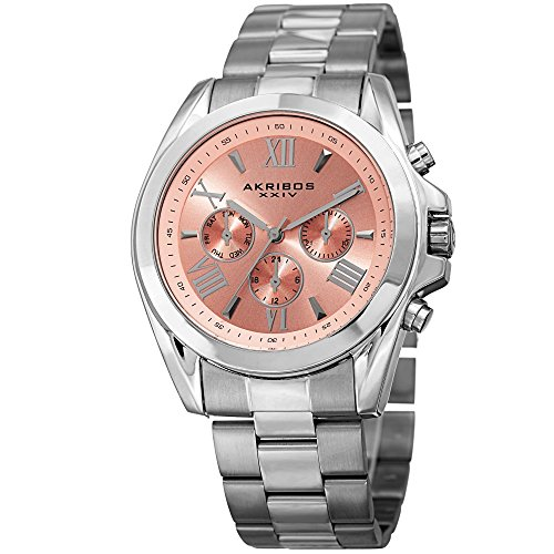 Akribos XXIV Women's Multi-Function Stainless Steel Case on Stainless Steel Bracelet and Pink Dial with Silver Tone Hands Watch AK951SSPK