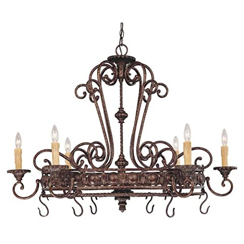 Savoy House 1P-50039-6-56 Island Light with No Shades, Brown Tortoise Shell Finish - Lighted Pot Rack