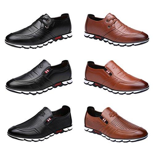 Zapatos Bajos De Huecos de Hombres Color y Cuero 44 Asiático Los Negro Zapatos Verano del Marrón Comerciales Porosos no Marrón 39 SOqSrwx