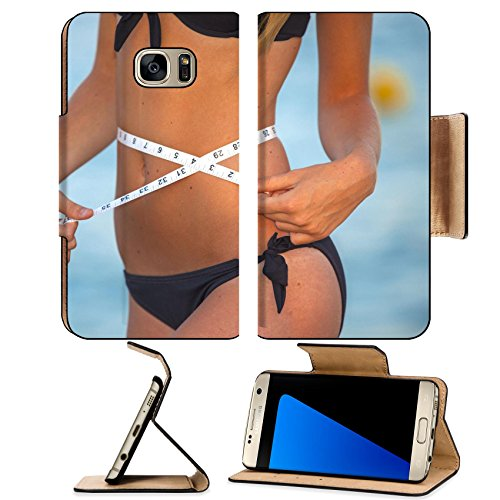 Luxlady Premium Samsung Galaxy S7 EDGE Flip Pu Leather Wallet Case IMAGE ID 21025182 slim healthy woman with tape measure on - For Faces Thin Best Hairstyles