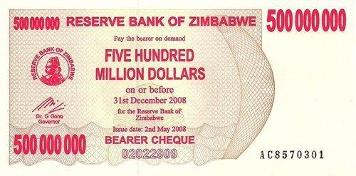 500 Million Dollars Zimbabwe Note - Crisp Unc. by zimbabwe