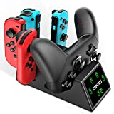 OIVO Switch Joy Con Controller Charger and Pro Controller Charging Dock for Nintendo Switch, Fast Charger Dock Stand Station for Nintendo Switch - 2.8FT Type C Cable Included