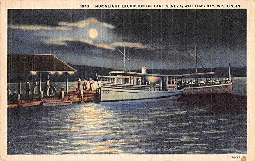 Williams Bay Wisconsin night scene Lake Geneva linen antique pc Z43932