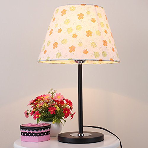 LIGHT- Modern simple bedside table lamp pastoral style room cute little floral cloth decorative table lamp Lighting and fixtures ( Color : Black base )