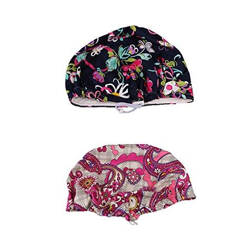 Homyl 2x Printed Cotton Surgical Hat Hospital Uniform Hat Bouffant Scrub Cap