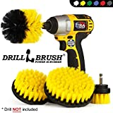 Drillbrush 4 Piece Nylon Power Brush Tile and Grout Bathroom Cleaning Scrub Brush Kit - Drill Brush Power Scrubber Brush Set - Power Scrubber Drill Brush Kit- Power Brush Drill Attachment