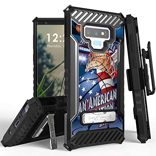 Trishield Series for Note9 Case, Military Grade Rugged Cover + [Metal Kickstand]+[Belt Clip Holster] for Samsung Galaxy Note 9 (2018) - Basketball