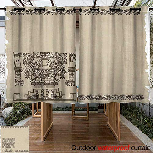 Onefzc Indoor/Outdoor Curtains Native American Mayan and Inca Tribal Symbols Superstition Primitive Relic Archeology for Patio/Front Porch 96