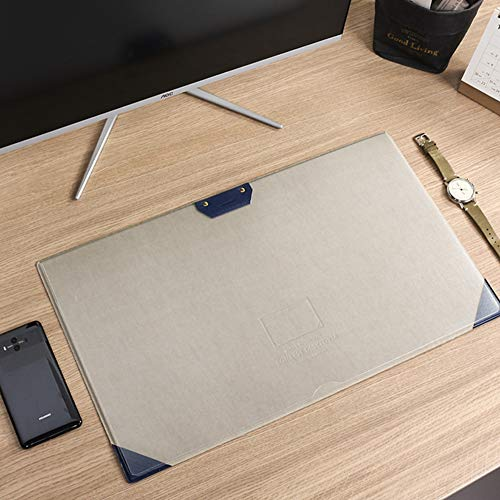 SSOK Cooler fans Felt Layered Side Desk Pad Protector Office Mouse Mat for Computer, Planner Organizer Pad with Pen Loop and Transparent Sheet for Memo-Blue 31.5x53cm(12x21inch)
