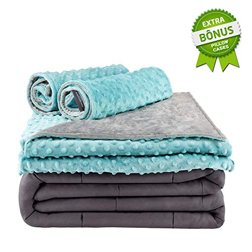 Cheap Secura Everyday Luxury Premium Adult Weighted Blanket with Removable Green Minky Cover and 2 Pillowcases 15 lbs 60 x 80 Queen Size 100% Cotton Material with Glass Beads Black Friday & Cyber Monday 2019