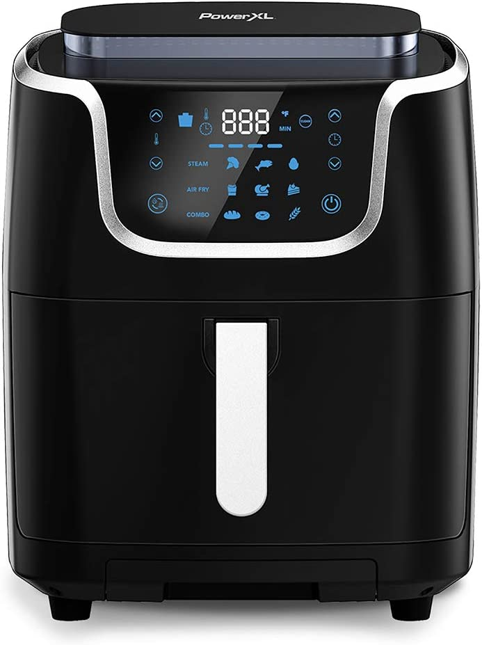 PowerXL Air Fryer Steamer 7 QT 10-in-1 XL Vegetable Steamer and Air Fryer Combo, Toast, Bake, Roast, Broil, Dough Proofing, Warm, Defrost, ST006, Black (7 QT)