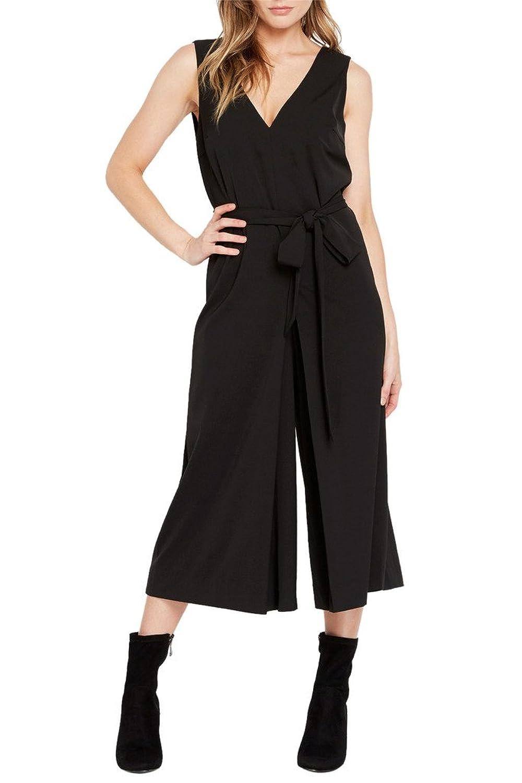 Women's Fashion Trendy V Neckline Wide Leg Sash Tie Romper Pants Jumpsuit