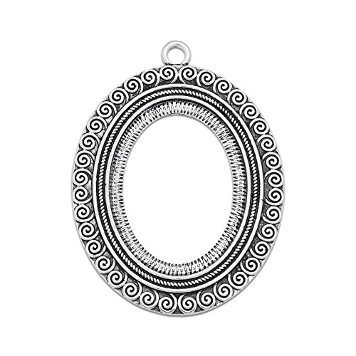 MAXENVISION 30x40mm Oval Pendant Tray Open Back Bezel Cameo Cabochon Pendant Frame Setting Pack of 20 (Antique Silver)