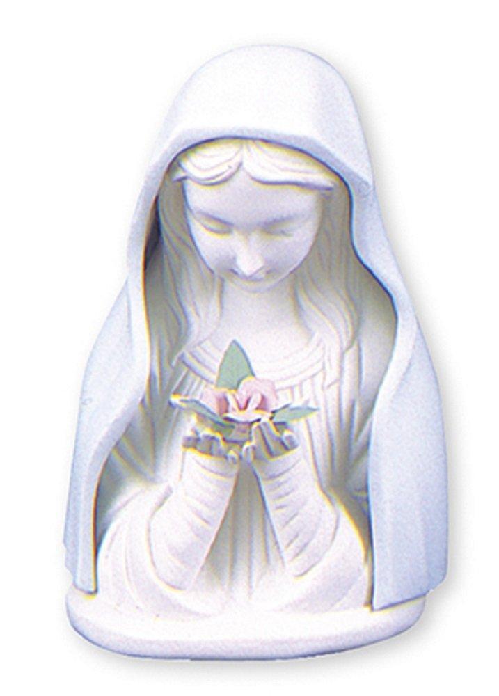 Statua vergine Maria 71/2 illuminato (19cm) in ceramica blu e bianco porcellana Madonna busto statua con luce Biblegifts