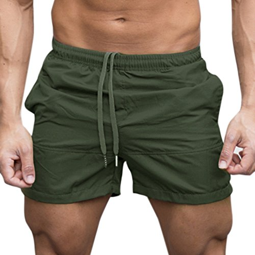 Men Workout Sports Shorts-5 Inch Elastic Waist Drawstring Gym Bodybuilding Fitness Jogger Short Pants (Large, Green)