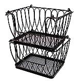 PAO MOTORING Set of 2 Stackable Baskets,Stackable Metal Utility Storage Bin