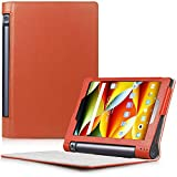 Yoga Tablet 3 8 Case - HOTCOOL Ultra Slim Lightweight Folio With Auto Sleep / Wake Feature Cover Case For 2015 Released Lenovo Yoga Tablet 3 8-Inch Tablet, Orange