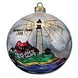 Blown-Glass Ball Ornament - Portland Head, ME Lighthouse